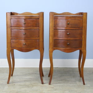 Pair of Antique Cherry Cabriole Leg Nightstands