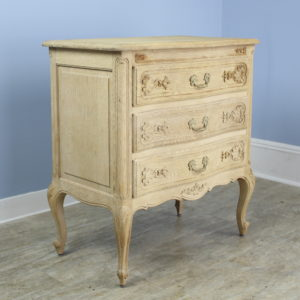 Small Antique Bleached Oak Commode, Fancifully Carved