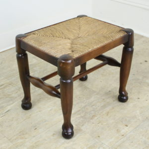 Antique English Rush-Seated Stool