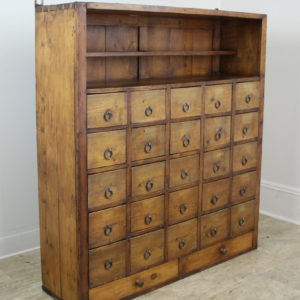 French Antique Bank of Pine Drawers