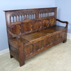 Antique Breton Walnut Bench