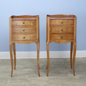 Pair of Antique French Cherry Cabriole Leg Nightstands