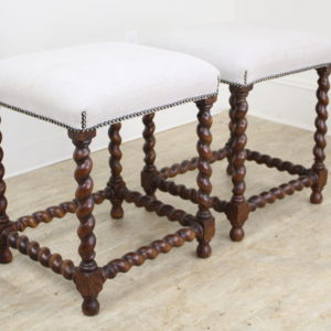 Pair of Antique Oak Barley Twist Stools, Newly Upholstered
