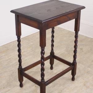 Antique Oak Barley Twist Side Table