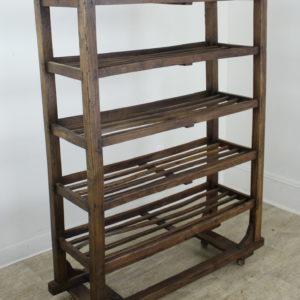 Antique French Elm Apple Rack or Standing Shelves