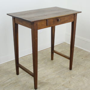Tall Antique Chestnut Side Table with Stretchers