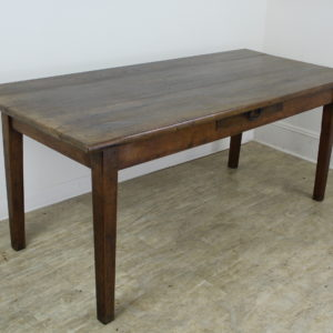 Antique Chunky Oak Farm Table, One-Drawer
