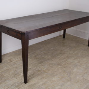Dark Oak Antique Farm Table with Two Drawers