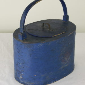 Blue Painted Birch Bark Food Box, from Central Sweden