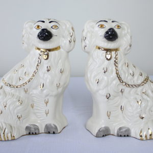 Pair of Antique English Staffordshire Ceramic Dogs