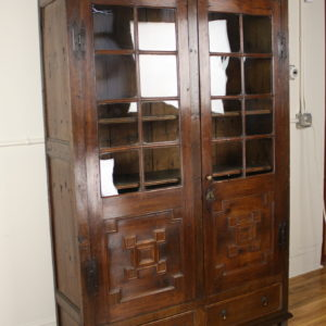 Antique Fruitwood and Oak Bookcase, Original Glass
