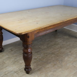 Very Large Scrubbed Top Pine Farm Table, Chunky Turned Legs
