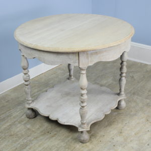 French Antique Round Oak Bleached Lamp Table