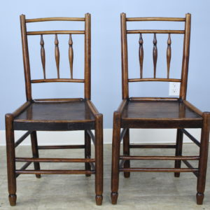 Pair of Early Georgian Oak Side Chairs