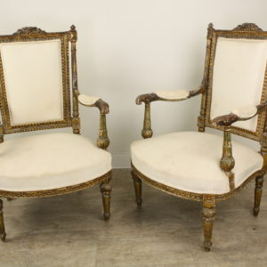 Pair of Antique French Gold Gilt Upholstered Armchairs *Monthly Deal*
