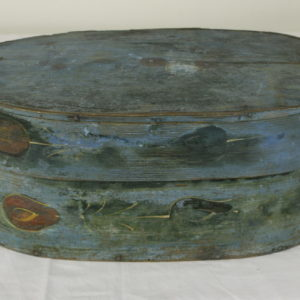 Antique French Folk Art Box with Traces of Painted Flowers