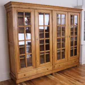 Antique Four Door Pine Bookcase