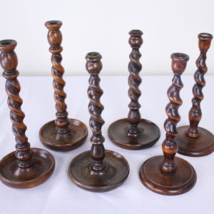 Three Pairs of English Oak Barley Twist Candlesticks