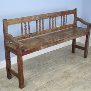 Pine and Elm Hall Bench, Original Paint