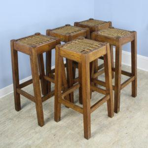 Set of 5 Antique French Oak Bar Stools