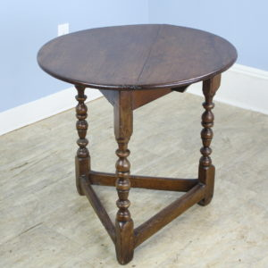 Antique Round English Oak Lamp or Cricket Table