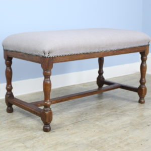 Antique Trestle Bench, Newly Upholstered
