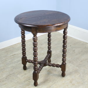 Antique French Round Oak Side Table with Bobbin Legs