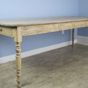 Antique French Bleached Oak Farm Table with Turned Legs and Two Drawers