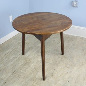 Antique Welsh Cricket Table with Fruitwood Top and Pine Base