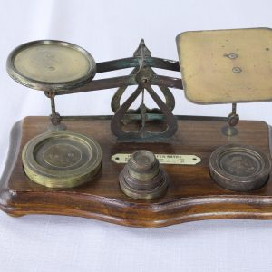 Small Antique English Brass and Wood Postal Scale
