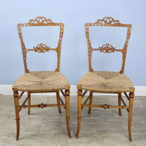 Pair of Glamorous Antique German Bedroom Chairs