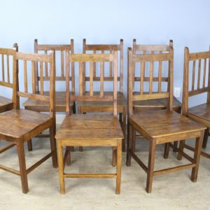 Set of 8 English Country Oak Dining Chairs