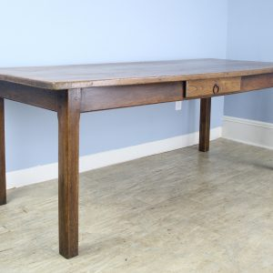 Antique Elm Farm Table with Cleated Top and Single Drawer