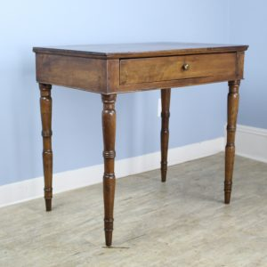 Small Antique Walnut Writing Table with Turned Legs