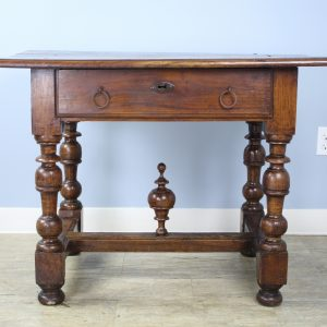 Early French Cherry Lamp Table with Original Finial