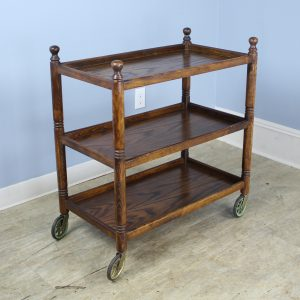 Antique Oak Three Tiered Trolley