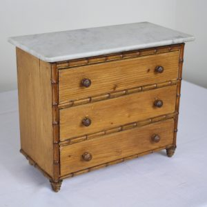 Antique Faux Bamboo Apprentice Box, Marble Top