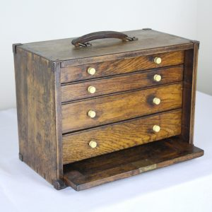Miniature Antique English Oak Campaign Chest of Drawers