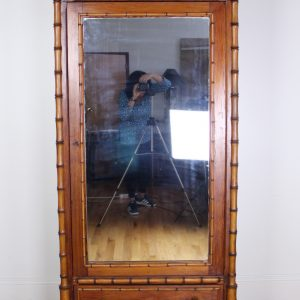 Faux Bamboo Armoire with Mirrored Door