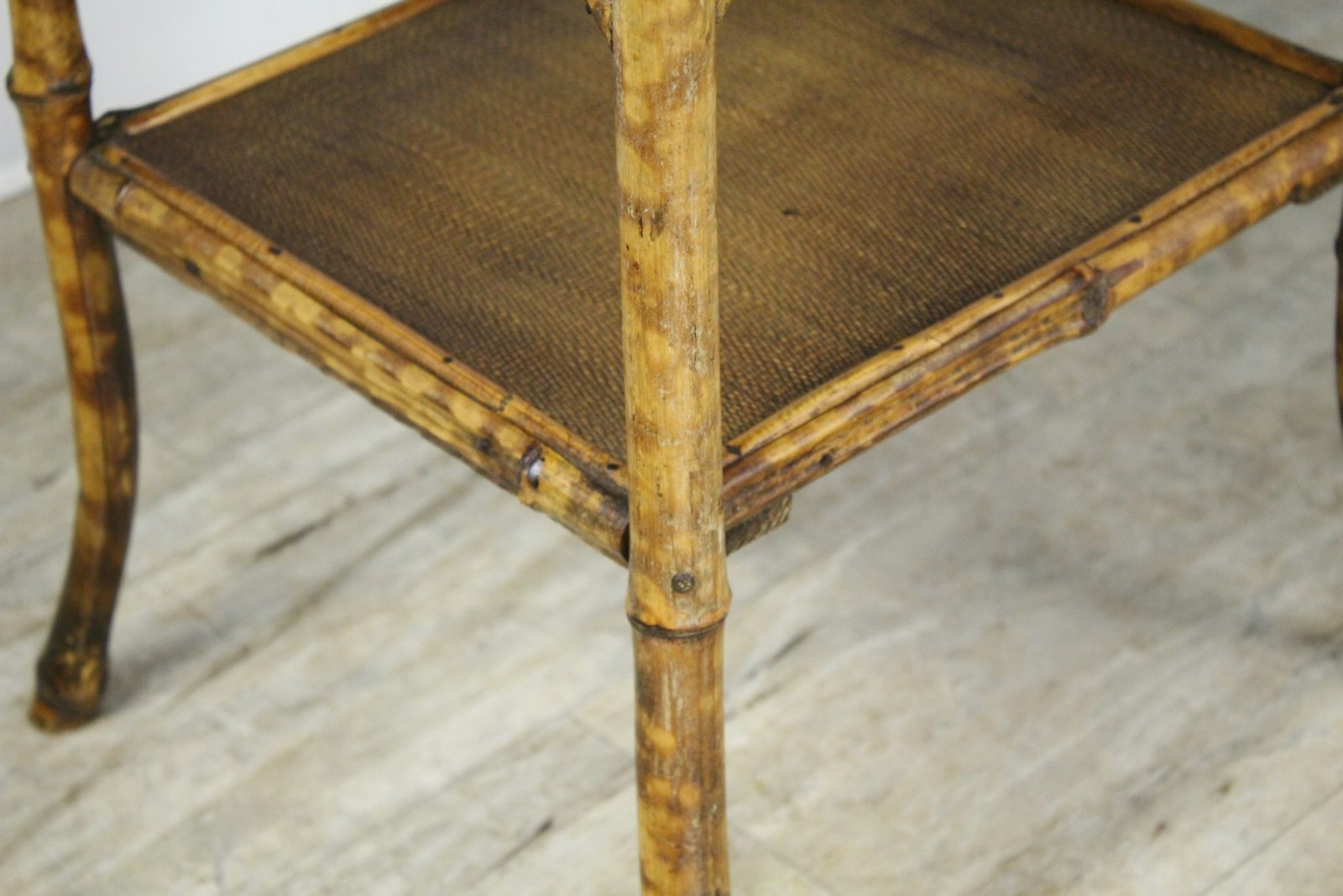 Antique English Bamboo Side Table Sewing Box Briggs