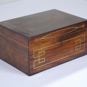 Antique Mahogany Tea Caddy with Brass Inlay