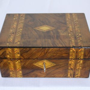 Inlaid Victorian Multi Wood Jewelry Box