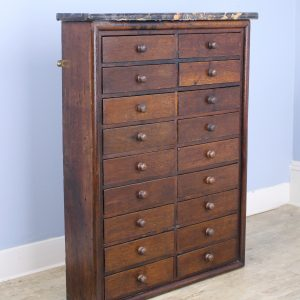 Antique Marble-Topped Bank of Drawers