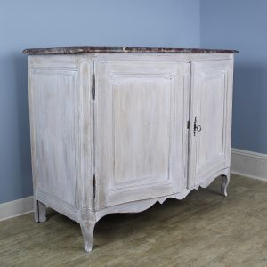 18th Century Oak Commode with Marble Top, Newly Painted