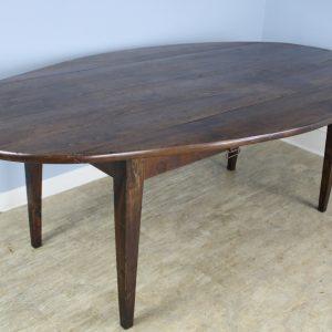 Large Antique Oval Chestnut Drop-Leaf Dining Table