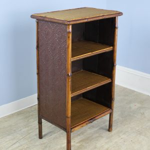 Small Antique Bamboo Bookcase with Pressed Leather Sides