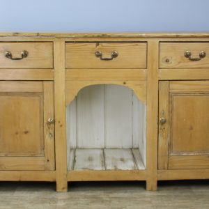 Early Welsh Country Pine Dresser Base, Dog Kennel Center