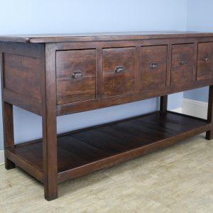 Antique Walnut Five Drawer Potboard Server or Counter