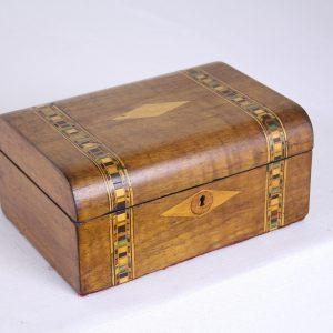Walnut Tumbridgeware Jewelry Box