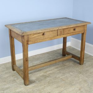 Vintage Oak Writing Table or Desk with Zinc Top